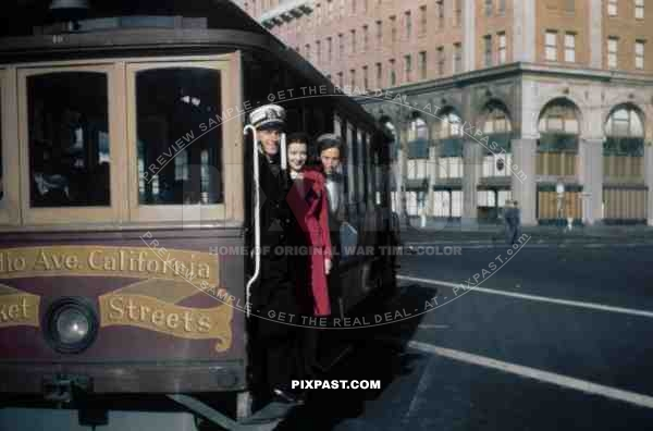 Cable car San Francisco USA America 1941 Navy officer