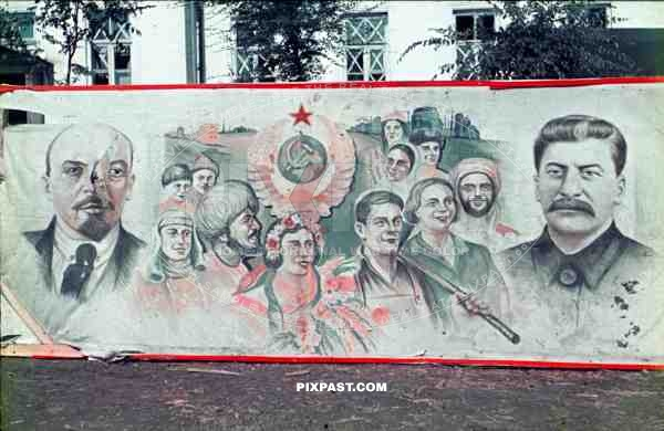 Captured Communist Propaganda poster with Stalin and Lenin, Ukraine, 1942