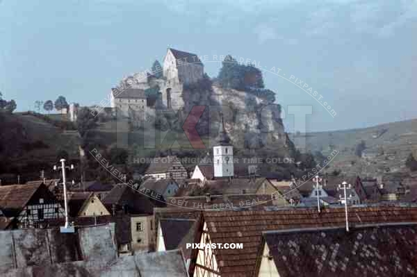Castle and church of Pottenstein, Germany 1939