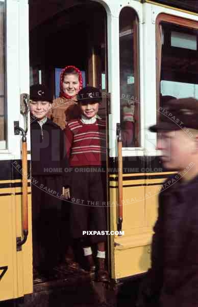Children in tram Strassenbahn Stuttgart Germany 1942.