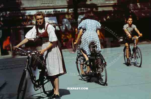 Cyclists in city centre of Stuttgart Germany 1939.