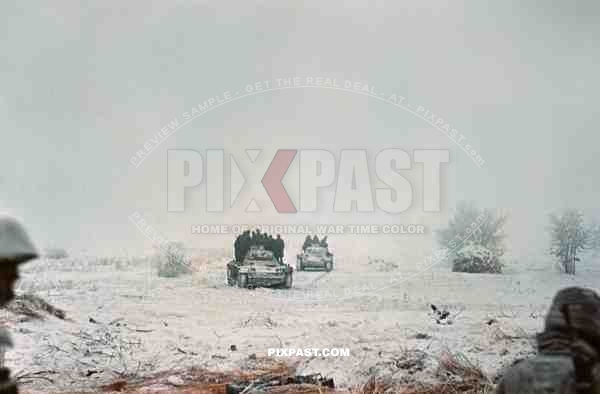 German Panzer 3 tanks used to transport infantry through ice cold Russian landscape, Russian winter end 1943.