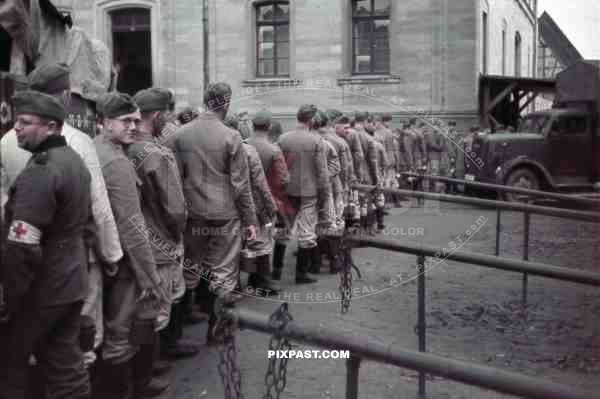 Medical  Wehrmacht soldiers in front of the school in Kandel, Germany 1940