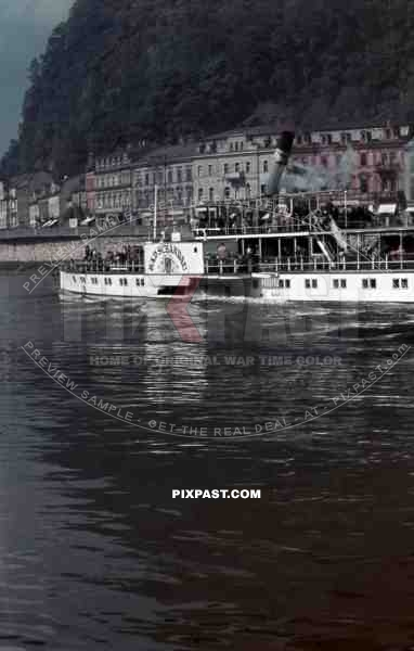 paddle steamer on the river Elbe in Decín, Czechoslovakia 1940