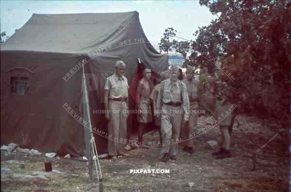 WW2 color Luftwaffe Field Division 2nd Lufllotte tropical luftwaffe staff officers tent zeltbahn sicily 1943
