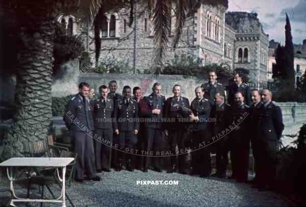 WW2 color Luftwaffe Field Division 2nd Lufllotte tropical staff portrait Villa Schuler FliegerKorp 2 Sicily 1943