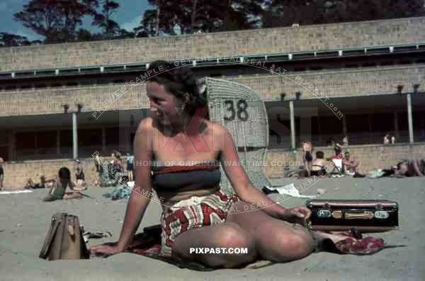 Young woman on beach, Strandbad Wannsee, Berlin 1940.