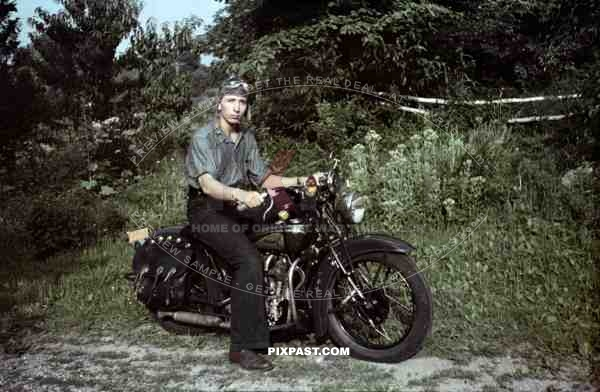 indian motorcycle usa 1945 returning american soldier hat bike goggles rebel leather. Black Bedroom Furniture Sets. Home Design Ideas